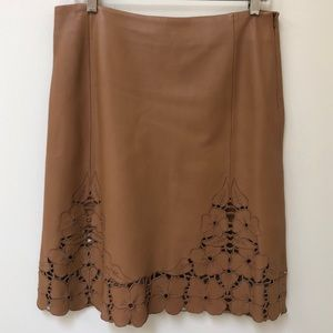 Leather Skirt by Patrizia Luca Brown